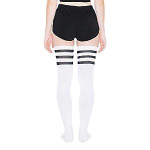 American Apparel Women's Stripe Thigh-High Socks, White/Black, One Size