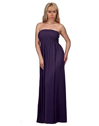 HDE Women's Strapless Maxi Dress Plus Size Tube Top Long Skirt Sundress Cover Up (Purple, 4X)