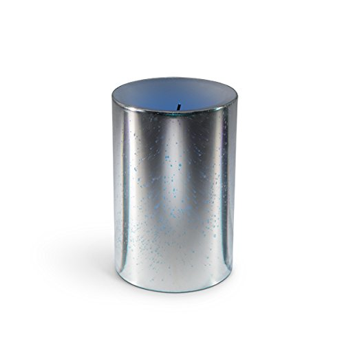"""The Gerson Company 4"""" D x 6"""" H Glow Wick(R) Wax Candle with Galaxy Effect and Color Changing LED and Timer, Silver"""