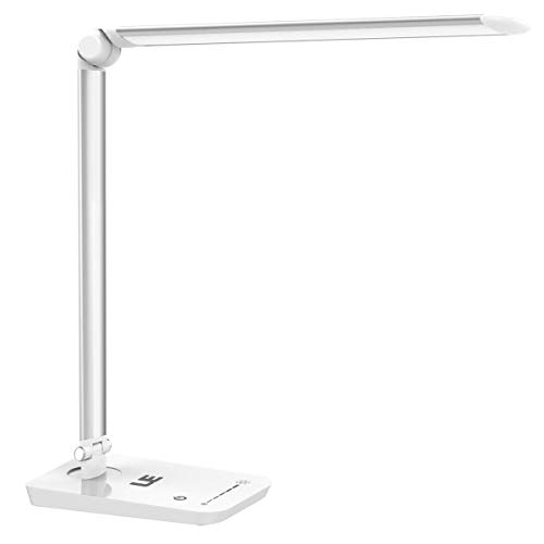 LE Dimmable LED Desk Lamp,Good for Back To School - 7 Brightness Levels,Touch Dimmer, Daylight White, Eye Care Natural Light, Office Task Lamp for Reading,Study, Computer Work and More (Silver White)