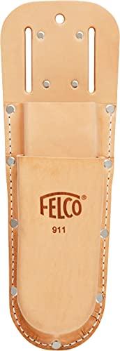 FELCO Holster 911 für Gartenscheren (Etui aus Leder, für 2 Baumscheren oder 1 Schere + 1 Klappsäge, Werkzeughalter mit Gürtelschlaufe, Maße 285x98 mm, ohne Werkzeug)