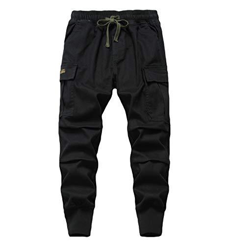 LAUSONS Jungen Cargohose Kinder Jogginghose Casual Outdoor Hose mit Gummizug Schwarz Größe 170/170-176