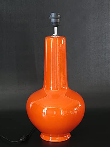 POLONIO Lámpara de Ceramica Sobremesa Grande Salon Color Naranja 46 cm E27, 60 W - Pie de Lámpara de Cerámica Naranja Lacre - Jarron de Ceramica Naranja.