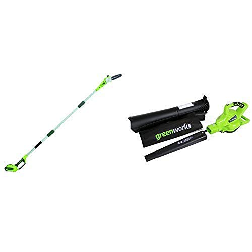 Greenworks 8.5' 40V Cordless Pole Saw, 2.0 AH Battery Included 20672 with 40V 185 MPH Variable Speed Cordless Blower Vacuum, Battery Not Included 24312