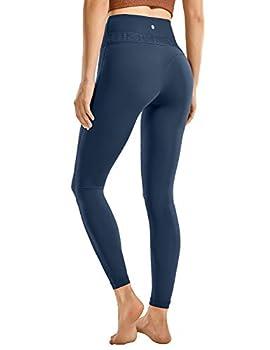 CRZ YOGA Women s Reflective High Waisted Workout Leggings Yoga Pants - Naked Feeling Soft - 25 Inches True Navy Medium