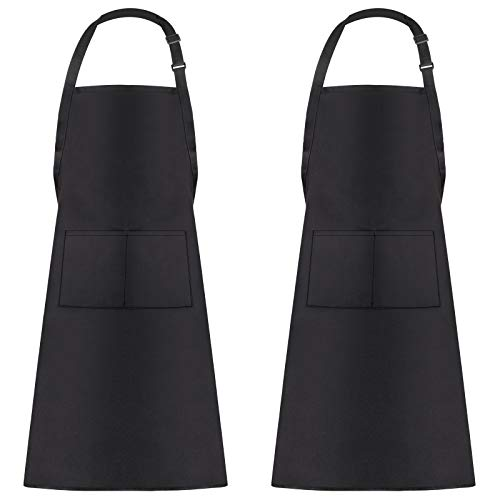 TIDYTIDE 2 Pack Adjustable Bib Apron, Water-drop Resistant, 2 Pockets, Cooking Kitchen Aprons, Women Men Chef (Black)