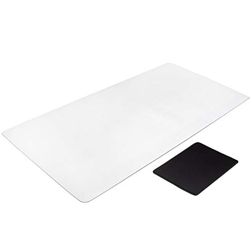 Awnour Clear Desk Pad Blotter - 34 x 17 inches - Plastic Transparent Desk Mat for Desktop - Non Slip Writing Mat for Office and Home - Round Edges - Textured/Forested… (Office Product)