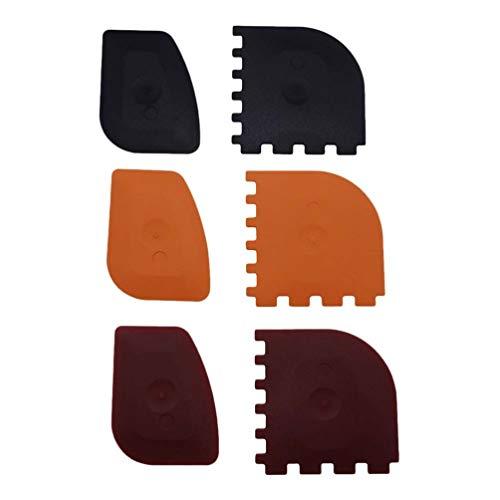 Cabilock 6Pcs Grattoirs en Plastique Grattoirs en Plastique pour Les Poêles en Fonte Poêles Et Plaques de Cuisson Outils de Cuisine Réutilisables (Noir/Rouge/Orange)