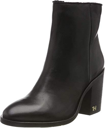 Tommy Hilfiger Damen Mono Color Heeled Boot Stiefeletten, Schwarz (Black 990), 40 EU