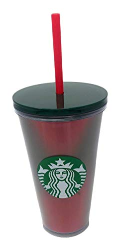 Starbucks 2019 Winter Holidays Lenticular Holographic Cold Cup Tumbler 16oz Red Green