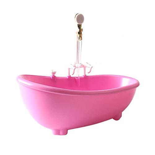 TOYANDONA Elektrische Puppe Badewanne Puppenhaus Bad Badewanne mit Dusche Passt Die Meisten Puppen Bad Spielset Rosa