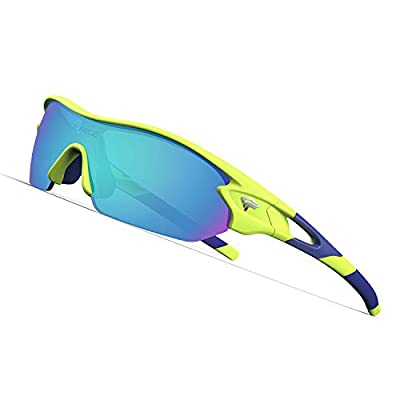 TOREGE Polarized Sports Sunglasses with 3 Interchangeable Lenes for Men Women Cycling Running Driving Fishing Golf Baseball Glasses TR02 (Matte Yellow&Ice Blue Lens)