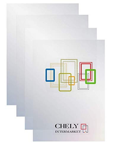 CHELY INTERMARKET, Laminas metacrilato Transparente 50x70cm, Pack 4 Unds con Espesor de 0.7mm. Material Plexiglass para fotografía o Pantalla. Ultra Transparente con Efecto de Brillo.
