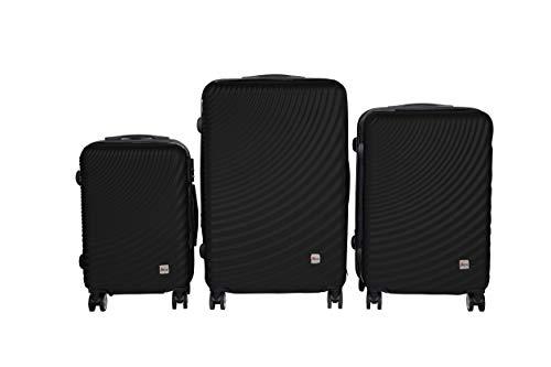 3 TEILIGES Kofferset EINMALIG IMEX Koffer Trolley HARTSCHALE ABS REISEKOFFER Set 3400 (Schwarz)