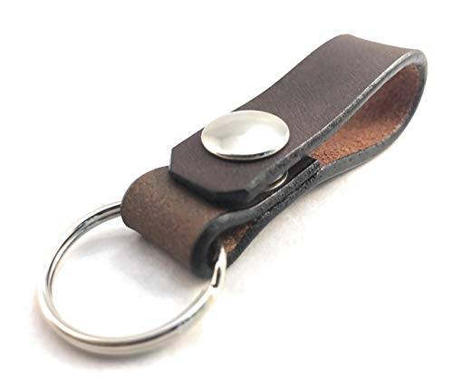 Leather Belt Loop Key Chain with Snap Brown Dangler Simple Tactical Natural Veg Tan American Made