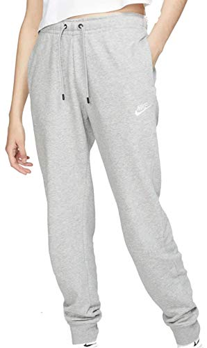 Nike Womens W NSW Essntl Pant Reg FLC Sweatpants, Dark Grey Heather/White, L