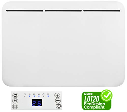 MYLEK Electric Panel Heater - Wall Mounted or Free Standing - Eco Energy Efficient LED Digital Display, Adjustable Thermostat, 7 Day Timer, Anti Frost Function, Bathroom IP24, ERP Lot20 (1500W)