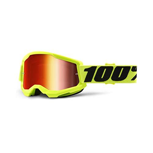 100% Strata 2 Motocross & Mountain Biking Goggles (Yellow - Mirror Red Lens) MX and Mountain Bike Racing Protective Eyewear