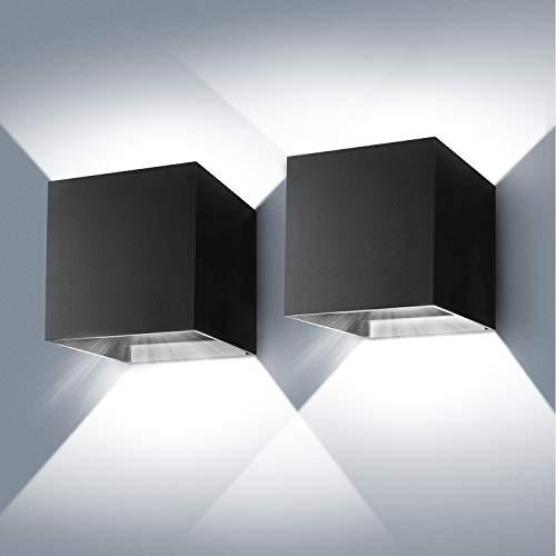 LED Wandleuchte Aussen/Innen 2 Stücke, IP 65 Wasserdichte Moderne Auf/ab Wandlampe mit Einstellbar Abstrahlwinkel, Aluminiumgehäuse Wandbeleuchtung für Wohnzimmer Schlafzimmer Badezimmer 6000K 12W