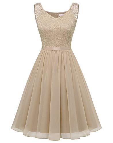 BeryLove Damen Elegant Cocktailkleid Knielang Spitzenkleid Abendkleid Chiffon Brautjungfernkleid für Hochzeit Champagner BLP7023 Champagne M