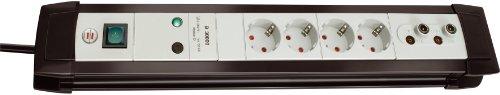 Brennenstuhl Premium-Line, Steckdosenleiste 4-fach mit Überspannungsschutz und TV+HiFi-Anschlüssen (1,8m Kabel und Schalter, Made in Germany) hellgrau / schwarz