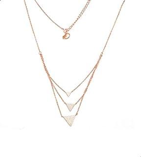 Parejo Silver Necklace Multi Chain Geometric Shaped for Women