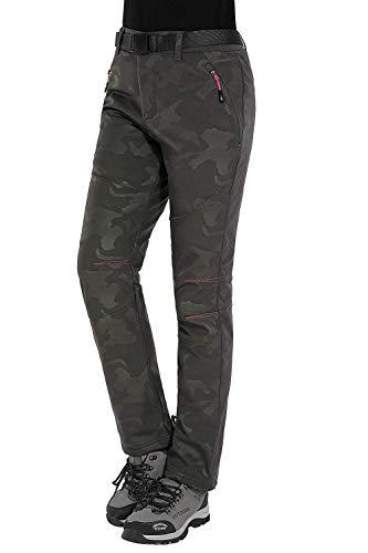 HAINES Softshellhose Damen Winterhose Wasserdicht Wanderhose Winter Outdoorhose Funktionshose Trekkinghose, Styli 2:Armeegrün, Gr. EU-XL