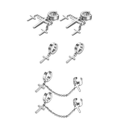 Aroncent Pendientes Aretes Clip para Oreja sin Agujero Colgante Acero Inoxidable Cruces Juego de Joya Chulo para Hombre Mujer, Plata Negro Oro, 3Pares(6PCS)