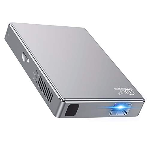 PTVDISPLAY Mini Video hd Projector-Portable Movie Phone dlp Projector, Support WiFi, Bluetooth, with HDMI in/USB/SD Slot.