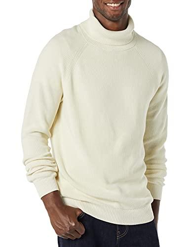 Amazon Essentials Men's 100% Cotton Rib Knit Turtleneck Sweater, Ivory, Large