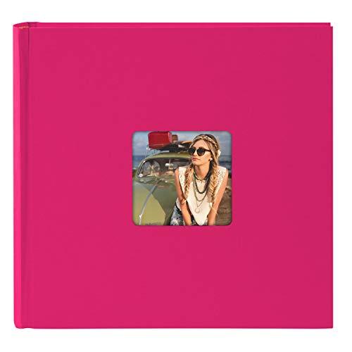 goldbuch 31097 Fotoalbum Living, Erinnerungsalbum mit Bildausschnitt, Fotobuch mit 100 cremeweißen Seiten mit Pergamin Trennblätter, Foto Album zum Einkleben in Leinenoptik, ca. 30x30 cm, Pink