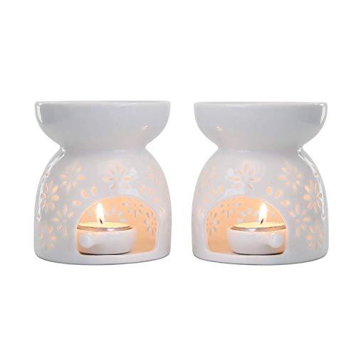 Mucihom Ceramica Bruciatore di Oli Essenziali per Aromaterapia Lampada dell'aroma Portalume Tealight per Diffusore Bianco Forma di Vaso Confezione da 2