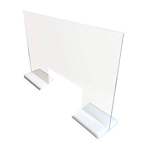 Protective Sneeze Guard MADE IN USA - Stand Alone & Durable Clear Acrylic Plexiglas Shield for Desk, Counter, Reception, Checkout, Nail Salon - (30'W x 24'H - Opening 18'W x 6'H)