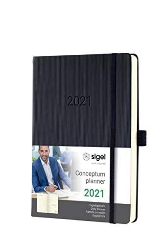 SIGEL C2110 Terminplaner Tageskalender 2021, ca. A5, schwarz, Hardcover mit vielen Extras, Conceptum - weitere Modelle