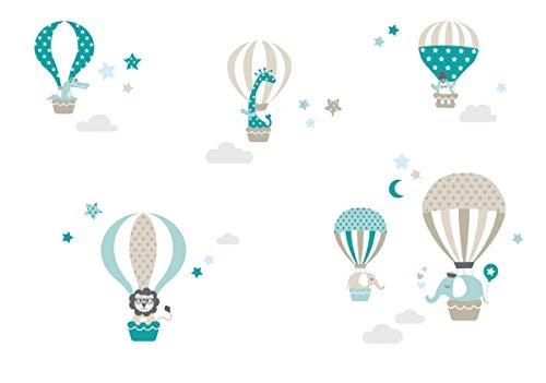 lovely label Wandsticker selbstklebend HEISSLUFTBALLONS TAUPE/MINT/PETROL - Wandaufkleber Kinderzimmer/Babyzimmer mit Tieren - Wandtattoo Schlafzimmer Mädchen & Junge, Wanddeko Baby/Kinder