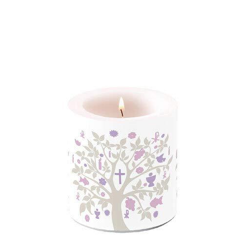 Kerze rund Baum des Lebens Taupe/lila als Tischdeko zur Kommunion, Konfirmation und Taufe Ø 7,5cm, Höhe 8cm