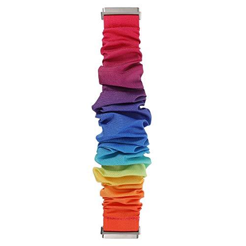 UKCOCO Compatible con Fitbit Inversa 3 Bandas de Sentido Correa de Muñeca Reloj Scrunchie Reemplazo de Pulsera Arcoíris Compatible con Reloj Fitbit