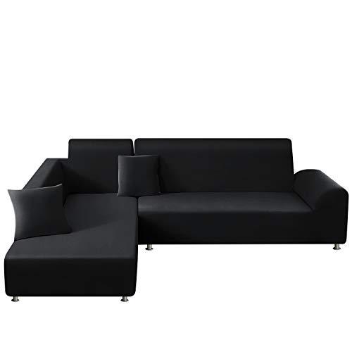 TAOCOCO Sofa Überwürfe Sofabezug Elastische Stretch für L-Form Sofa Abdeckung 2er Set für 3 Sitzer + 3 Sitzer mit 2 Stücke Kissenbezug (Schwarz)