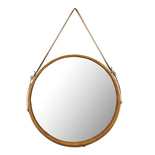 Hosoncovy PU Lederwand runder Spiegel hängende dekorative Spiegel mit Riemen 30CM Durchmesser Schminkspiegel Kosmetikspiegel für Badezimmer Wohnzimmer Schlafzimmer