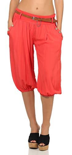 malito dames Capri broek in effen kleuren | Korte broek met riem | Bermuda voor aan het strand | Haremsbroek - Wijde broek 6020