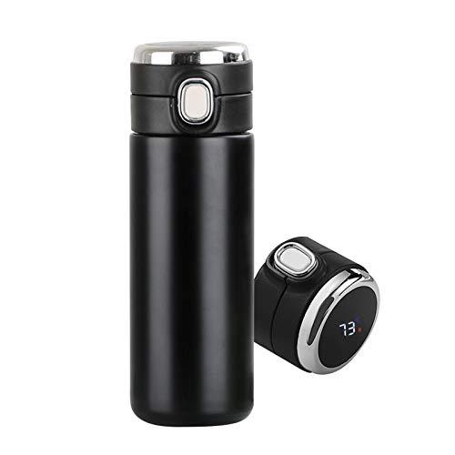 FUBINMY Botella térmica Botella de Agua de Acero Inoxidable de 420ml TERMOS Inteligentes LED Temperatura Digital Pantalla Tazas térmicas Tazas Tazas de Aislamiento Inteligente (Farbe : Black)