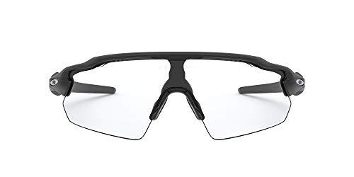 Oakley Men's OO9211 Radar EV Pitch Polarized Rectangular Sunglasses, Matte Black/Clear-Black Photochromic, 38 mm