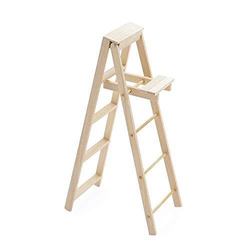 Odoria Scala in legno 1:12 con piattaforma pieghevole per casa delle bambole e accessori per mobili