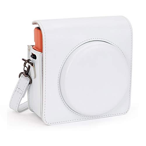 Leebotree Sofortbildkameras Tasche Kompatibel mit Instax Square SQ1 Sofortbildkamera, Kameratasche mit Weichem PU Leder Material und Schulterriemen (Weiß)