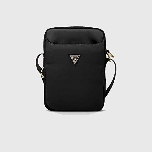 Guess Bolsa GUTB10NTMLBK de 10 pulgadas, color negro, nailon, con logotipo triangular.