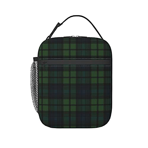 Bolsa de almuerzo aislada para mujeres/hombres negro reloj a cuadros reutilizable caja de almuerzo bolsa bolsa bolsa de mano para oficina, trabajo, escuela, picnic, viajes