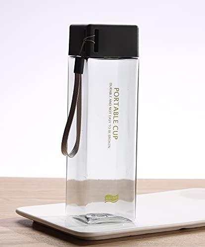 Yuzhijie Linda taza de agua cuadrada para té, leche y frutas, 500 ml para botellas de agua con cuerda transparente, estilo coreano, resistente al calor (color: negro)