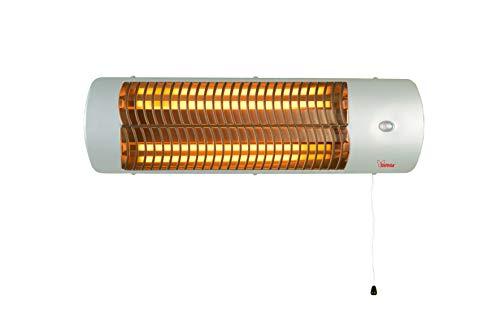 bimar HR307 Stufa elettrica da Esterno al Quarzo da 1500W, Stufetta Radiante a Parete Riscaldamento per Esterno Istantaneo e Circoscritto, Kit Incluso, Orientabile 0-90 Gradi, Accensione a Corda