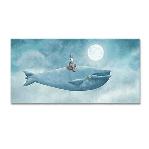 CNHNWJ Abstracte aquarel walvis in blauwe hemel kinderkamer decoratie canvas schilderij POP muurkunst poster afdrukken foto's kinderkamer wooncultuur 35x70cm zonder lijst