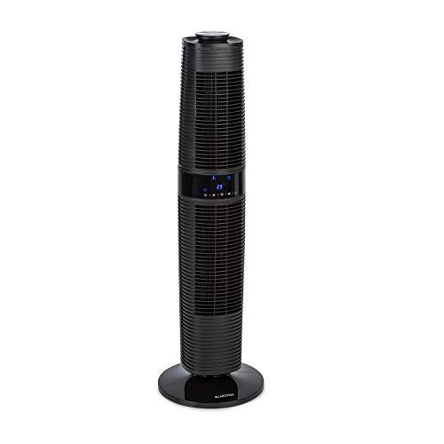 KLARSTEIN Twister - Ventilador Vertical, Ahorro energía con 45 W de Potencia, Corriente de 343 m³/h, Oscilación automática de 80° y Manual de 360°, Autoapagado Programable, 3 Niveles, 4 Modos, Negro